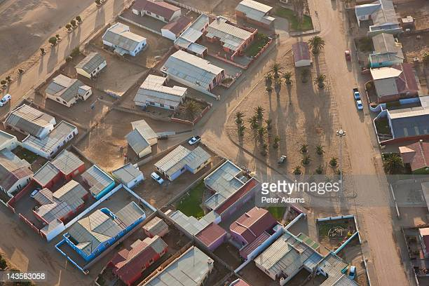 aerial view of houses, walvis bay, namibia - walvis bay stock photos and pictures