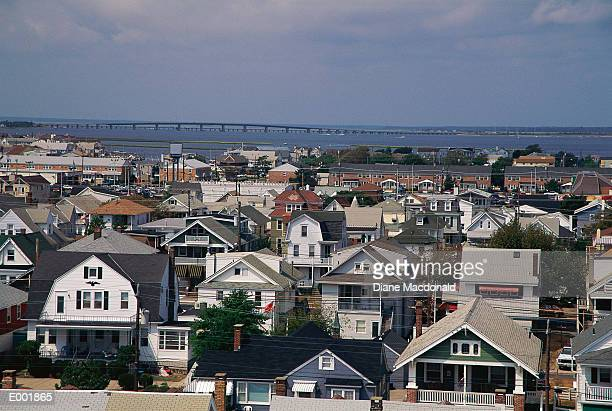 aerial view of houses with water and bridge - ocean city new jersey stock photos and pictures