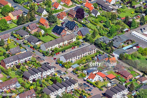 aerial view of housing development in celle , germany - celle stock photos and pictures