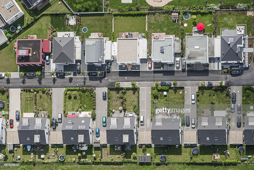 Aerial view of housing development : Stock Photo