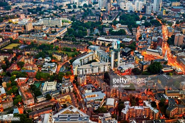 aerial view of housing in borough, london - borough market stock-fotos und bilder