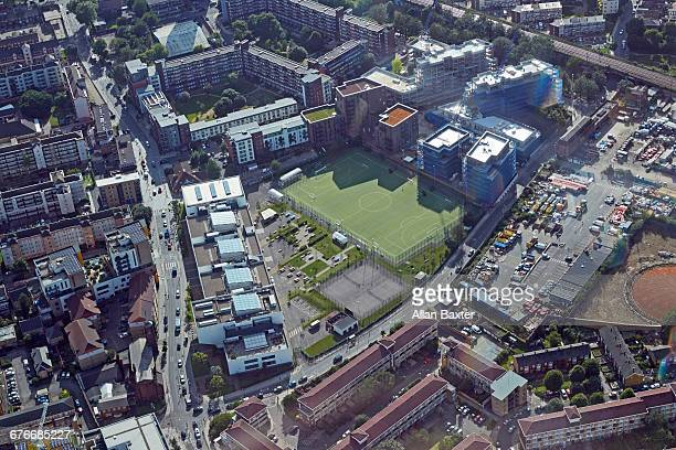 aerial view of housing in tower hamlets - football pitch stock pictures, royalty-free photos & images