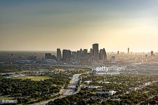 Aerial view of Houston at sunset