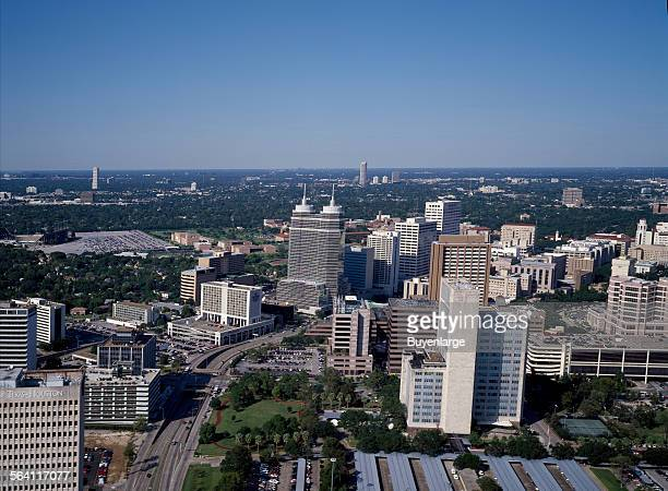 Aerial view of Houston Texas above its famous Medical Center