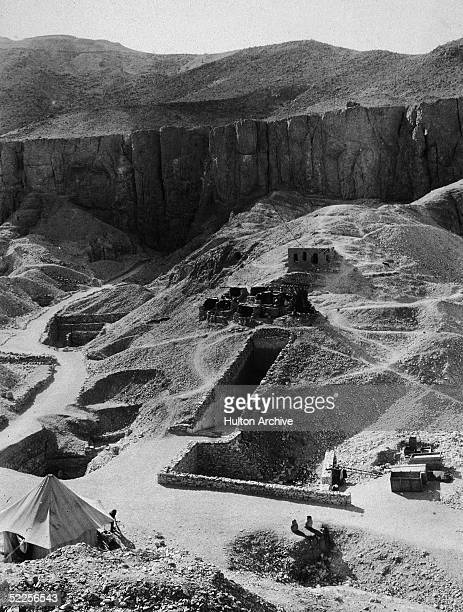 Aerial view of Howard Carter's archaeological excavations of the tombs of the Pharoahs Ramesses VI and Tutankhamen Valley of the Kings Thebes Egypt...