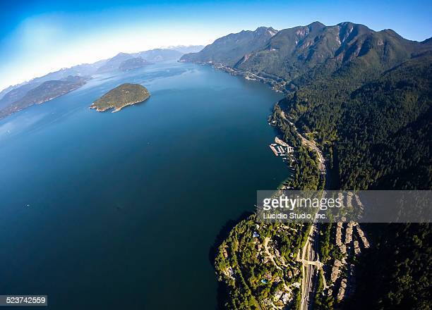Aerial view of Howe Sound and islands BC