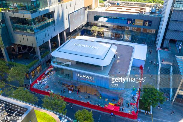 Aerial view of Huawei Global Flagship Store before its opening on September 21, 2019 in Shenzhen, Guangdong Province of China. Huawei will open its...