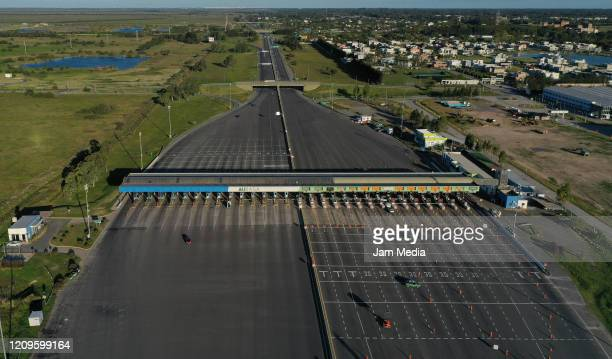 Aerial view of Hudson toll at highway Buenos Aires - La Plata amidst the coronavirus pandemic on April 10, 2020 in Buenos Aires, Argentina. President...