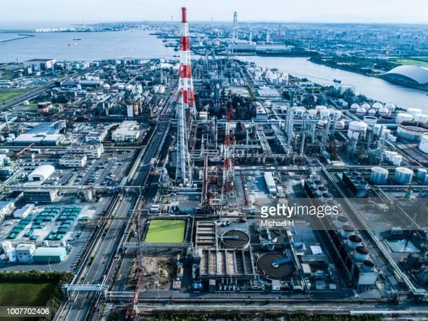 aerial view of huge plants - klimaschutz stock-fotos und bilder