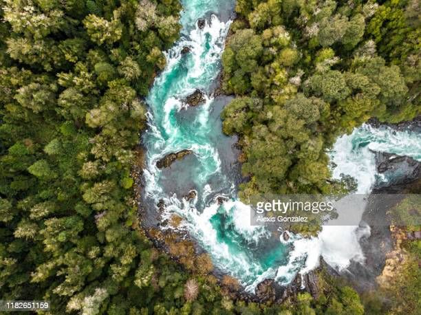 aerial view of huilo huilo river in southern chile - river stock pictures, royalty-free photos & images