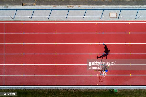 Aerial view of hurdler