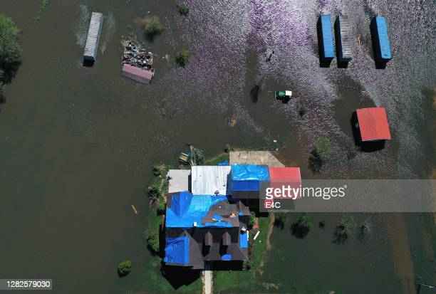 aerial view of hurricane flooding in louisiana - louisiana stock pictures, royalty-free photos & images