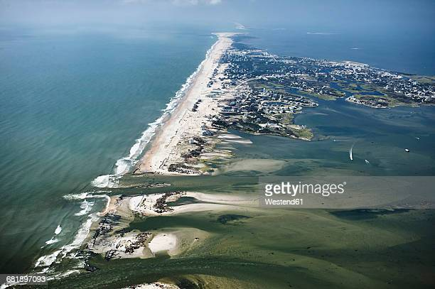 usa, aerial view of hurricane isabel damage to hatteras island in the outer banks of north carolina - cape hatteras stock pictures, royalty-free photos & images