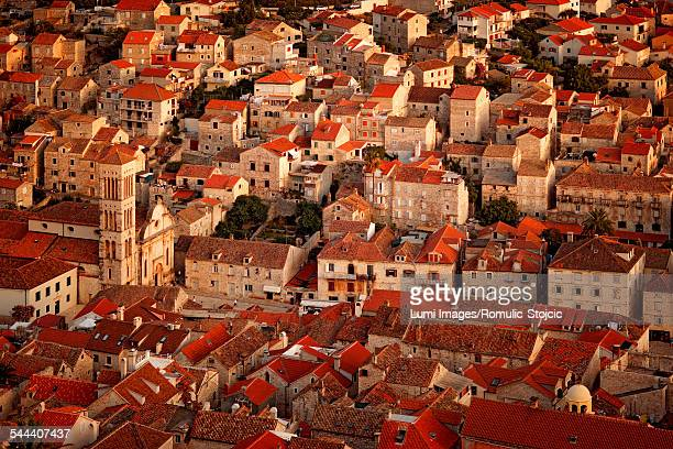 Aerial view of Hvar city, Dalmatia, Croatia