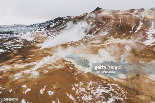 aerial view of hverir  in iceland  in winter - physical geography stock pictures, royalty-free photos & images