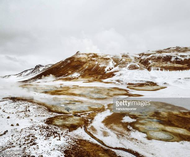 aerial view of hverir in iceland in winter - volcanic landscape stock pictures, royalty-free photos & images