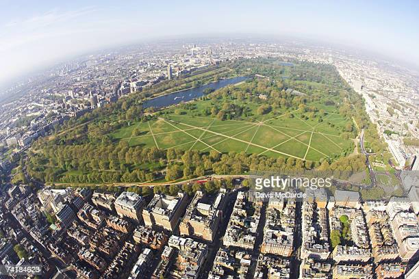 """aerial view of hyde park in london, england"" - hyde park london stock photos and pictures"