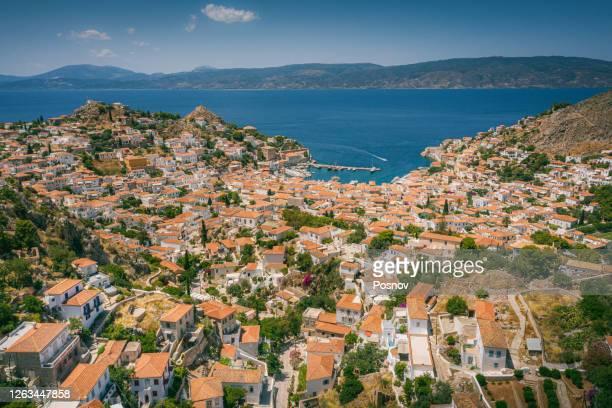 aerial view of hydra port - greek islands stockfoto's en -beelden