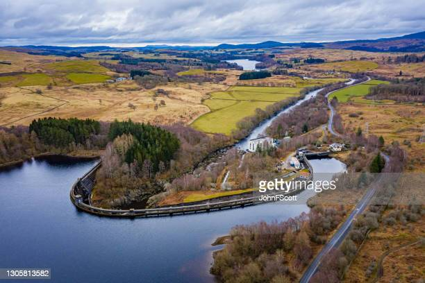 aerial view of hydro electric power station - johnfscott stock pictures, royalty-free photos & images