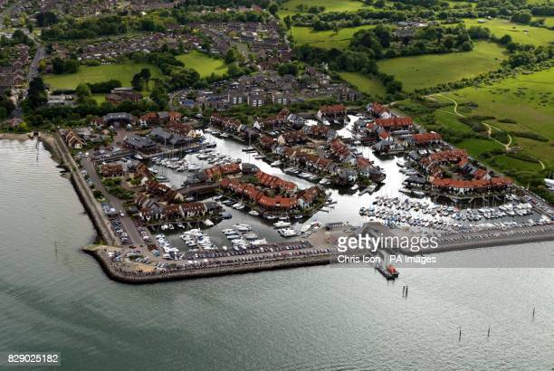 Aerial view of Hythe Marina village next to Dibden Bay where Associated British Ports propose building a huge container terminal