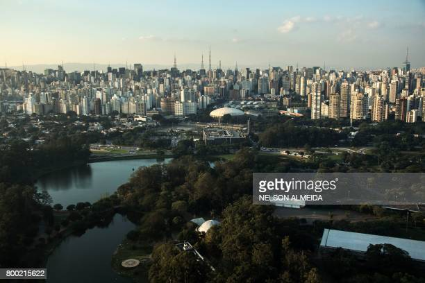 Aerial view of Ibirapuera Park in Sao Paulo Brazil on June 23 2017