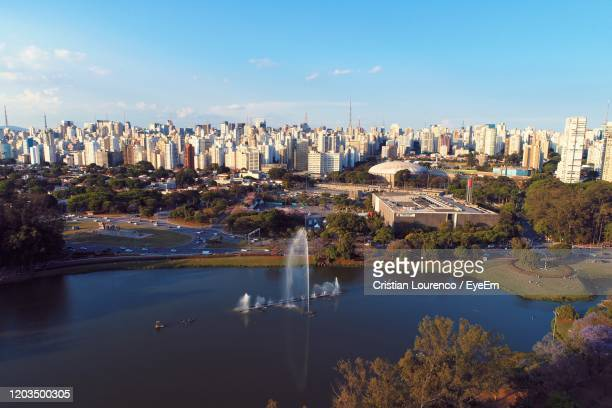 aerial view of ibirapuera's park in the beautiful day, são paulo brazil. great landscape. - ibirapuera park stock pictures, royalty-free photos & images