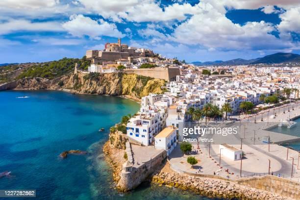 aerial view of ibiza town, castell de eivissa. balearic islands, spain - isla de antigua fotografías e imágenes de stock