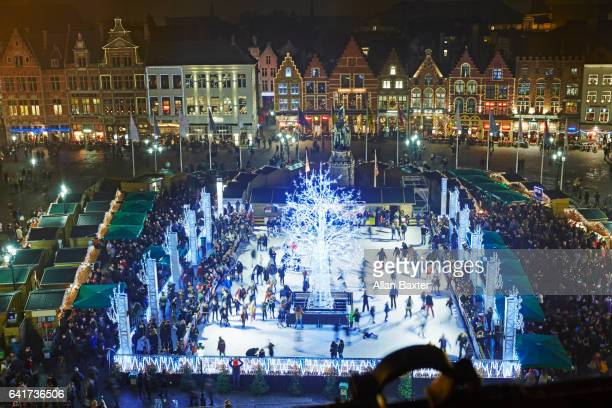 Aerial view of ice rink in Bruges main square at christmas