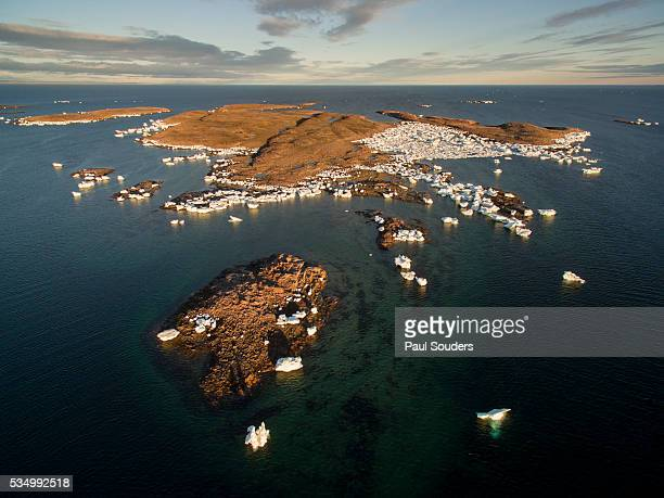 Aerial View of Icebergs amid Harbour Islands in Repulse Bay, Nunavut, Canada
