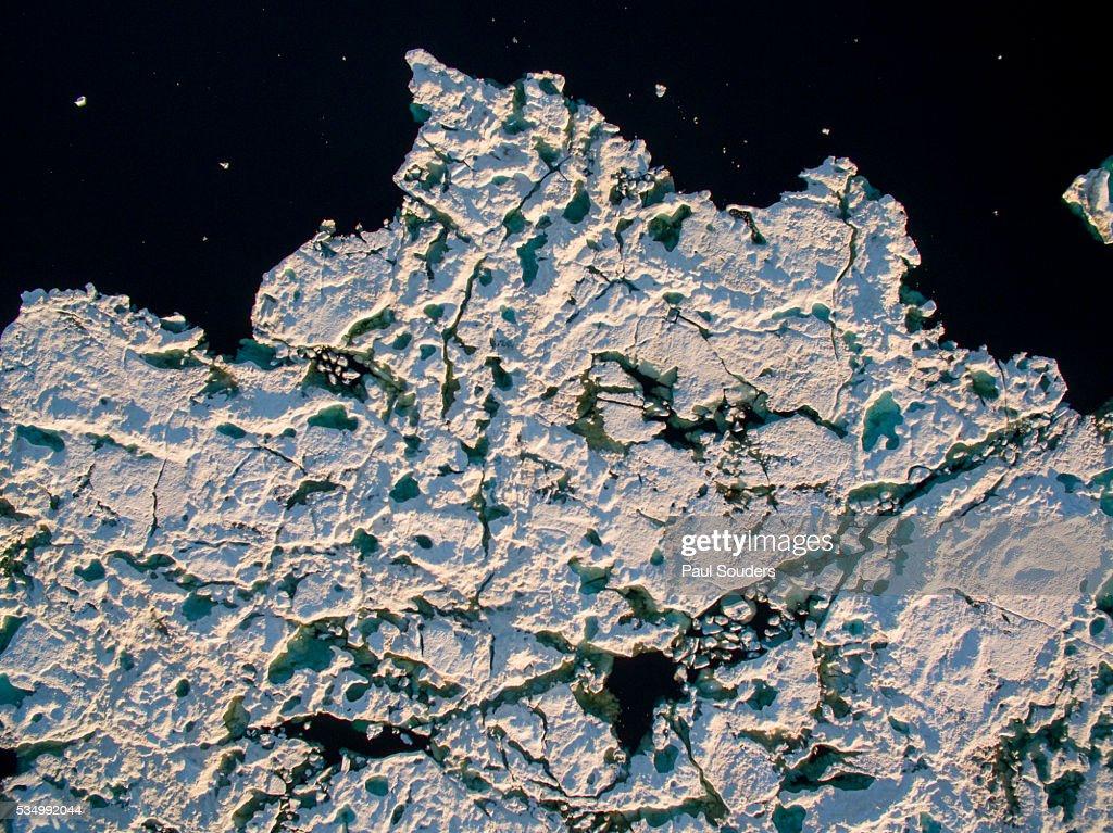 Aerial View of Icebergs in Repulse Bay, Nunavut, Canada : Stock Photo