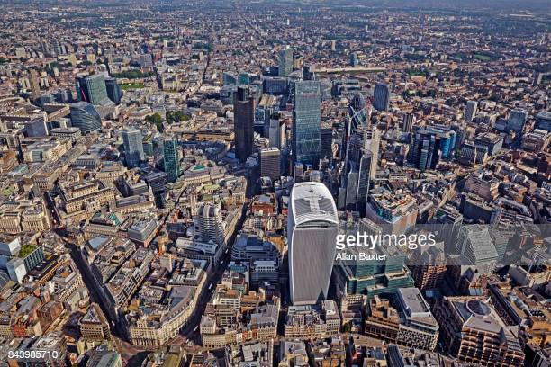 Aerial view of iconic skyscrapers in the city of London