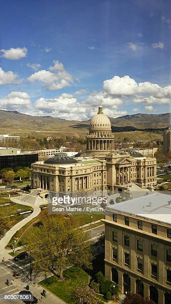 Aerial View Of Idaho State Capitol Against Cloudy Blue Sky In City