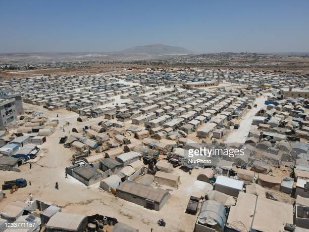 Aerial view of IDP camps near Kafr Lusin in Idlib countryside on the Syrian-Turkish border on July 2, 2021.