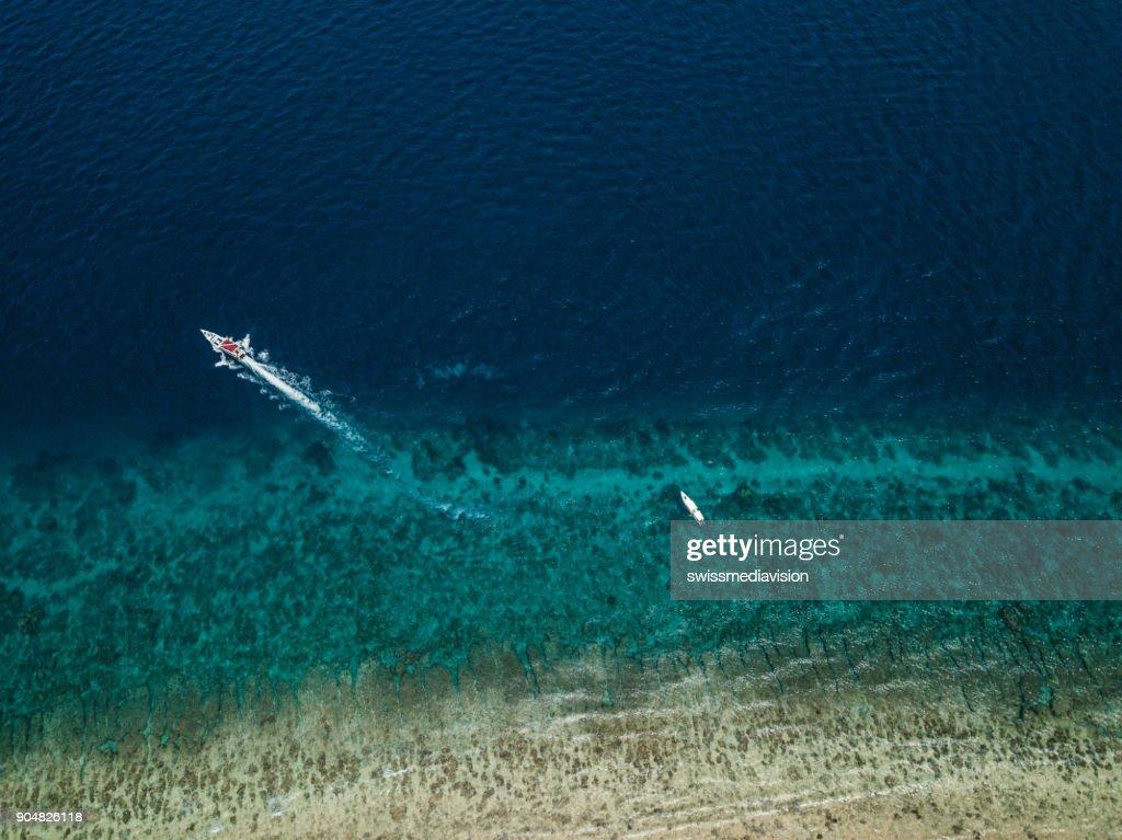 Aerial view of idyllic Island, white sand beach and turquoise sea- Indonesia : Stock Photo