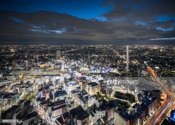 Aerial View of Ikebukuro at Night