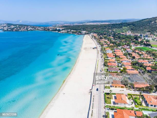 aerial view of ilica beach, cesme - izmir - izmir stock pictures, royalty-free photos & images
