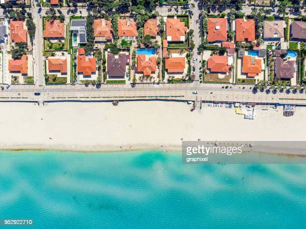 aerial view of ilica beach, cesme - izmir - waterfront stock pictures, royalty-free photos & images