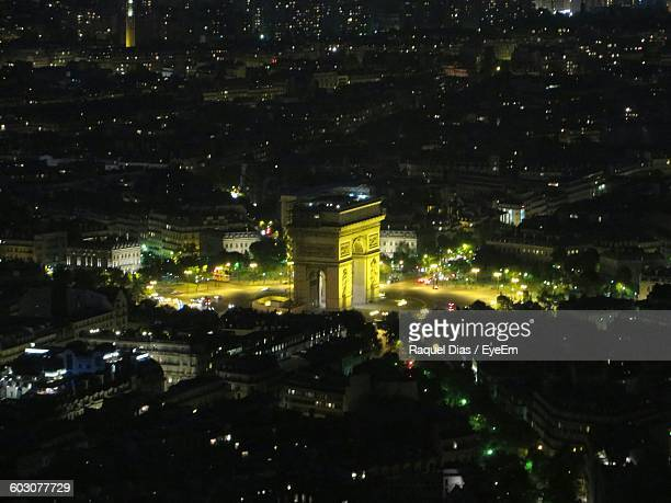 Aerial View Of Illuminated Arc De Triomphe In City At Night