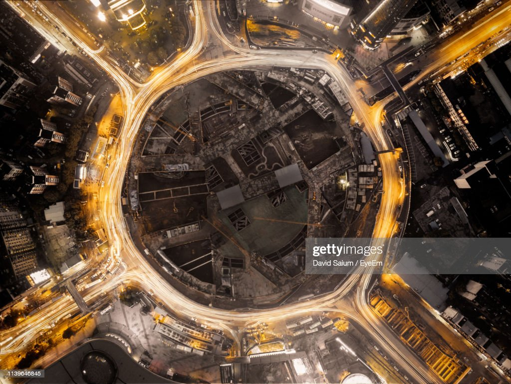 Aerial View Of Illuminated Cityscape At Night : Stock Photo
