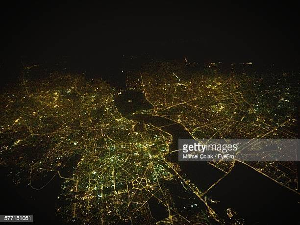 Aerial View Of Illuminated Cityscape At Night