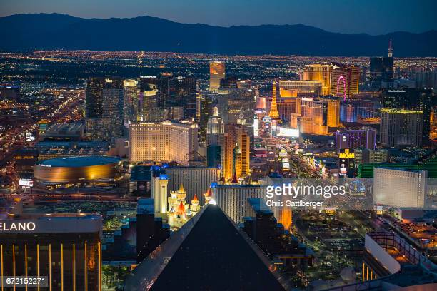 Aerial view of illuminated cityscape, Las Vegas, Nevada, United States,