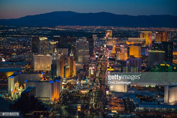 aerial view of illuminated cityscape, las vegas, nevada, united states,  - las vegas skyline night stock pictures, royalty-free photos & images