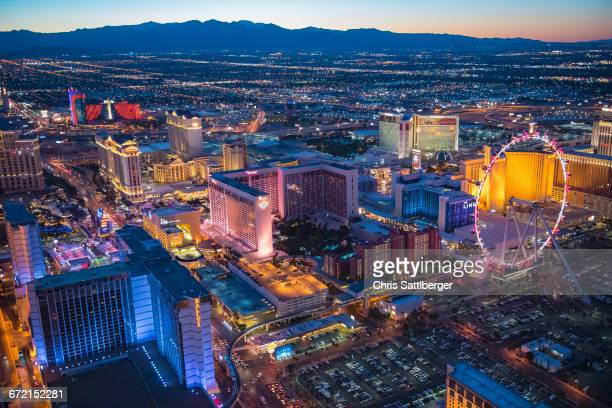 aerial view of illuminated cityscape, las vegas, nevada, united states,  - ラスベガス ストックフォトと画像