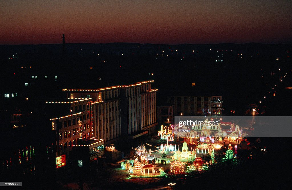 aerial view of illuminated ice sculptures during the celebration of chinese new year on february - Chinese New Year 1999
