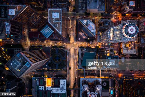 aerial view of illuminated los angeles downtown. - los angeles città foto e immagini stock