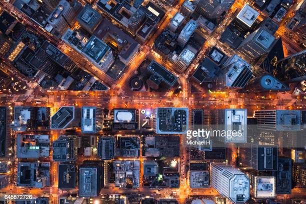Aerial view of illuminated San Francisco.