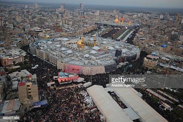 Aerial view of Imam Hussein's shrine and Abbas ibn Ali's shrine are seen as Shi'ite people gather during the Arba'een ceremony in the holy city of...