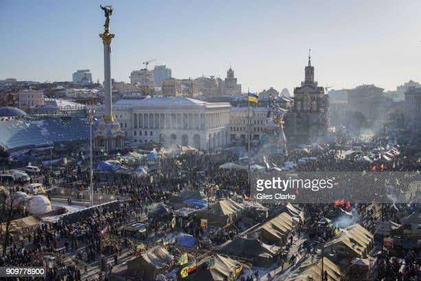 KIEV UKRAINE FEBRUARY Aerial view of Independence Square in Kiev during uprising of 2014