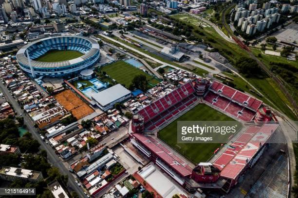 Aerial view of Independiente's Libertadores de América stadium and Racing's Presidente Juan Domingo Perón stadium on March 27, 2020 in Buenos Aires,...