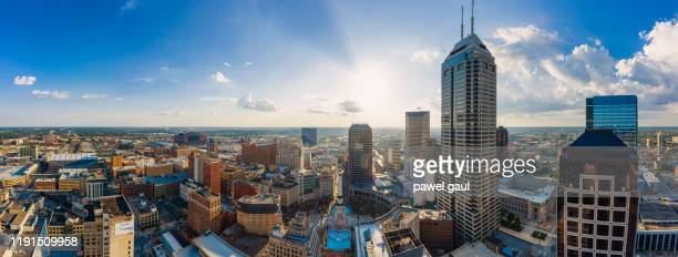 aerial view of indianapolis downtown indiana - indiana stock pictures, royalty-free photos & images